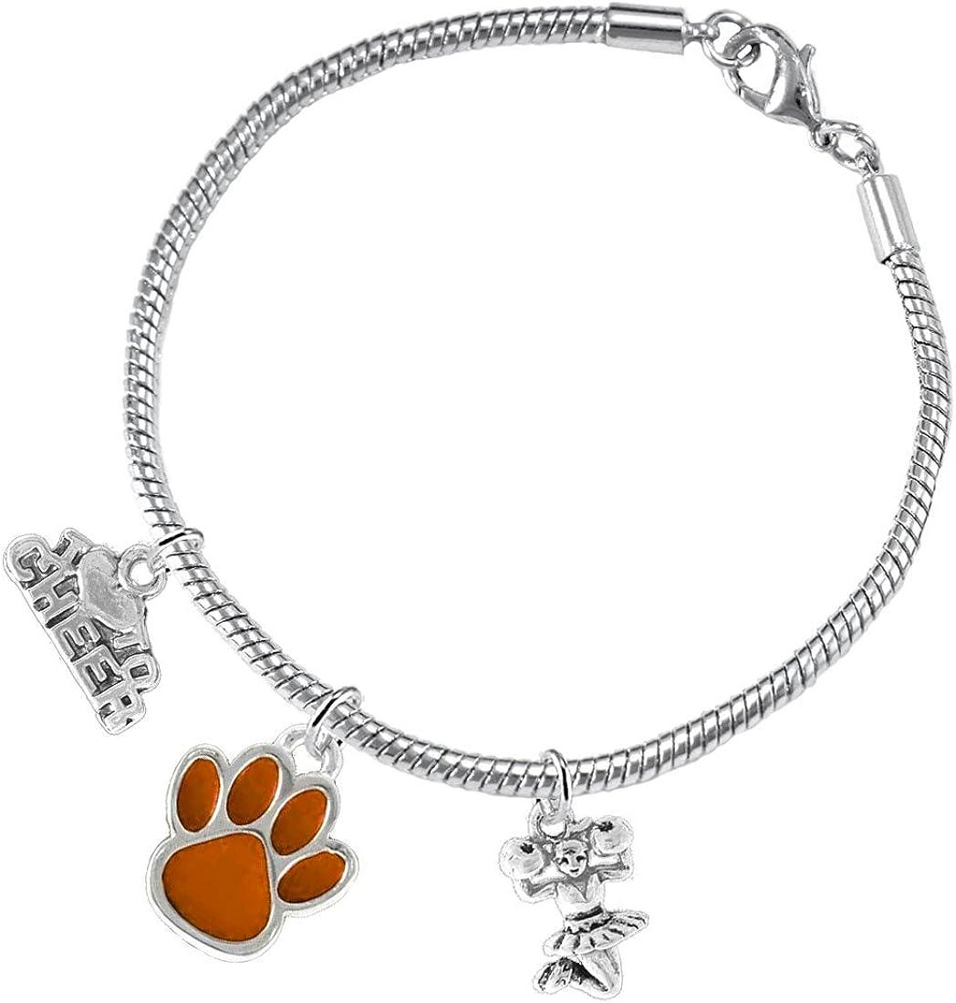 Orange Paw Cheer 3 Charm Bracelet Safe-Hypoallergenic Lead and Cadmium Free Nickel