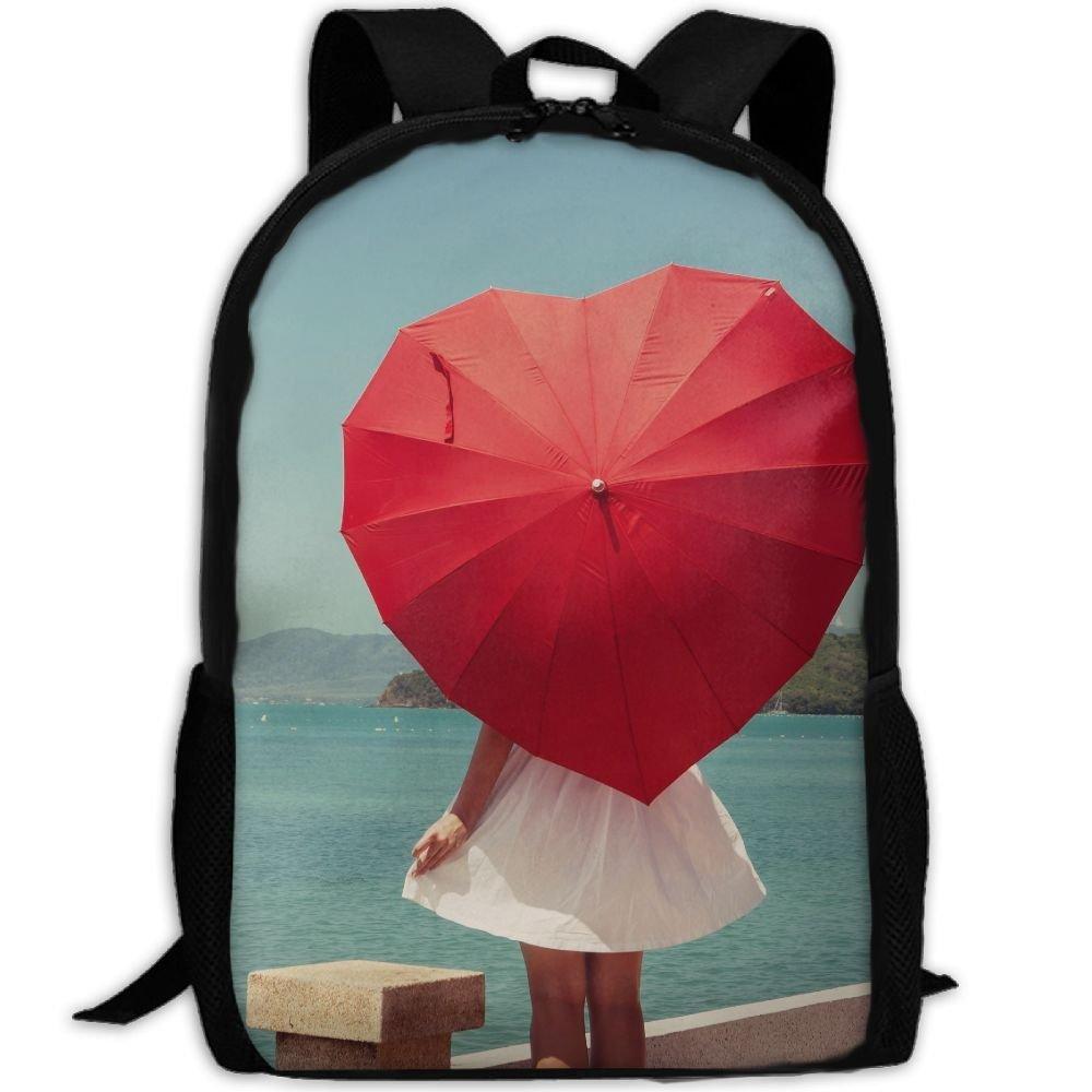 ZQBAAD Umbrella, Love Heart Luxury Print Men And Women's Travel Knapsack
