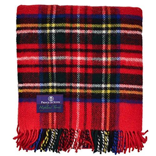Prince of Scots Highland Tartan Tweed 100% Pure New Wool Fluffy Throw ~ Royal Stewart ~ ()