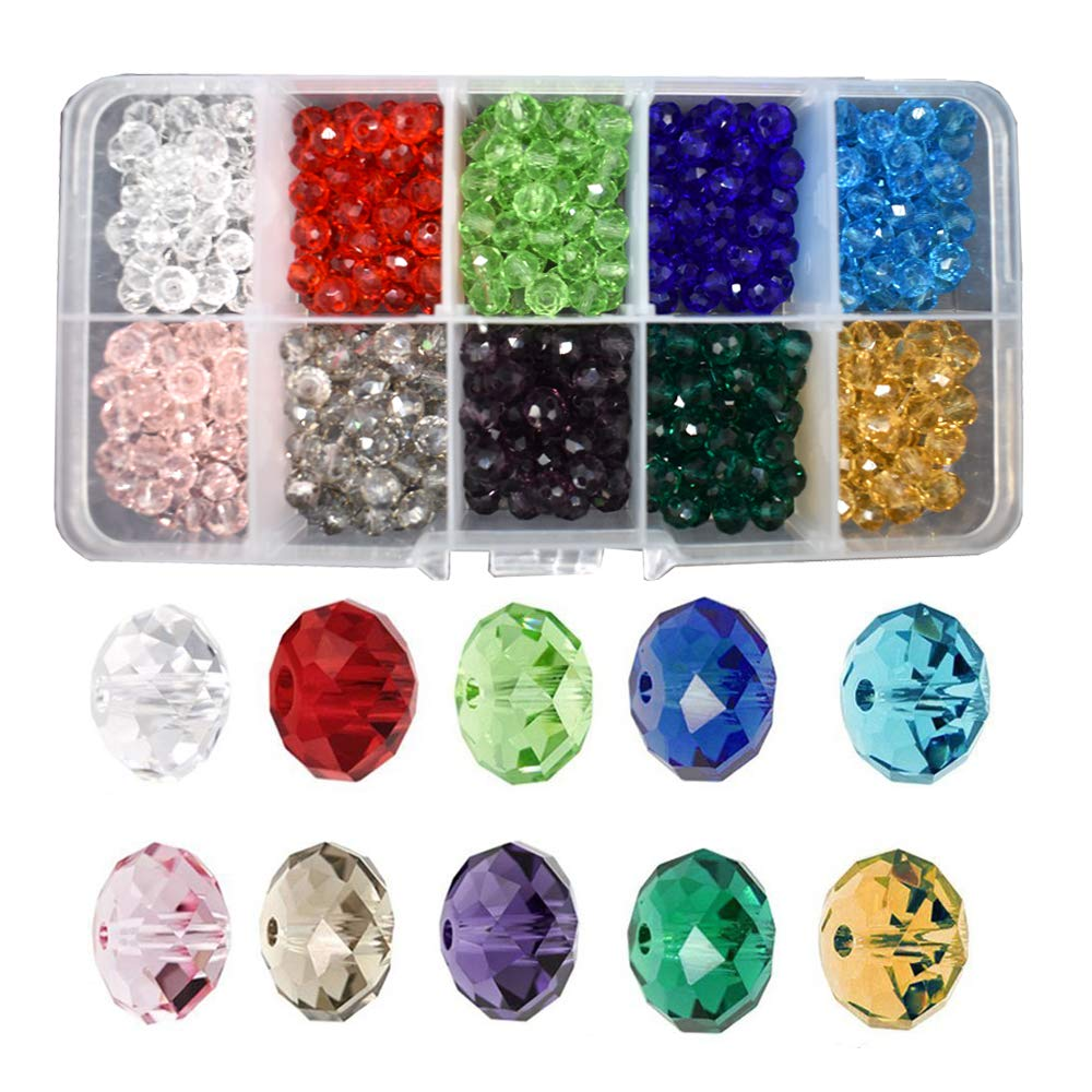 Renashed Wholesale Briolette Crystal Glass 500pcs 6mm Beads Finding Spacer Beads Faceted with Container Box Beads for Making Jewelry 10 Colors (6mm)