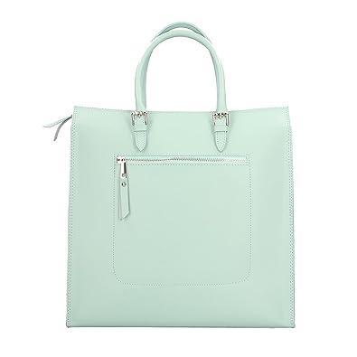 Handtasche aus echtem italienischem Leder 23x20x13 Cm Chicca Borse sQ8ZDNe