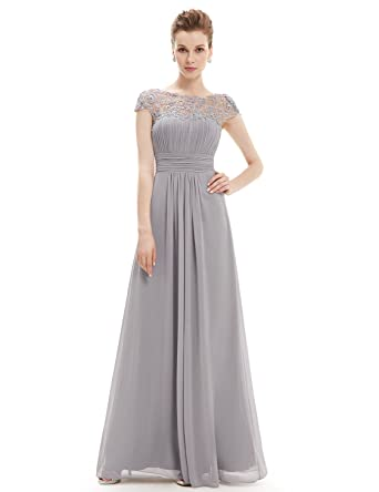 Ever-Pretty Womens Cap Sleeve Lace Neckline Ruched Bust Evening Gown ...