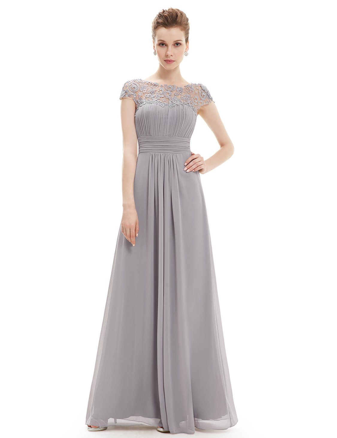 Ever-Pretty Womens Cap Sleeve Lace Neckline Ruched Bust Evening Gown 12 US Grey