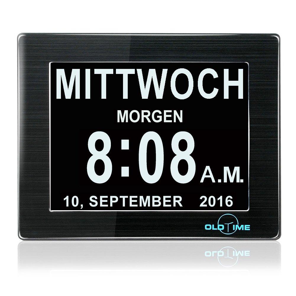 Digitaler Kalender Tag Uhr mit Nicht Abkürzungen Tag & Monat - WSD® 8 Zoll Digital Kalender Wecker- Woche Zeit Alzheimer uhr ,Senioren uhr Sehr Gut Geeignet für ältere (schwarz) (Schwarz)
