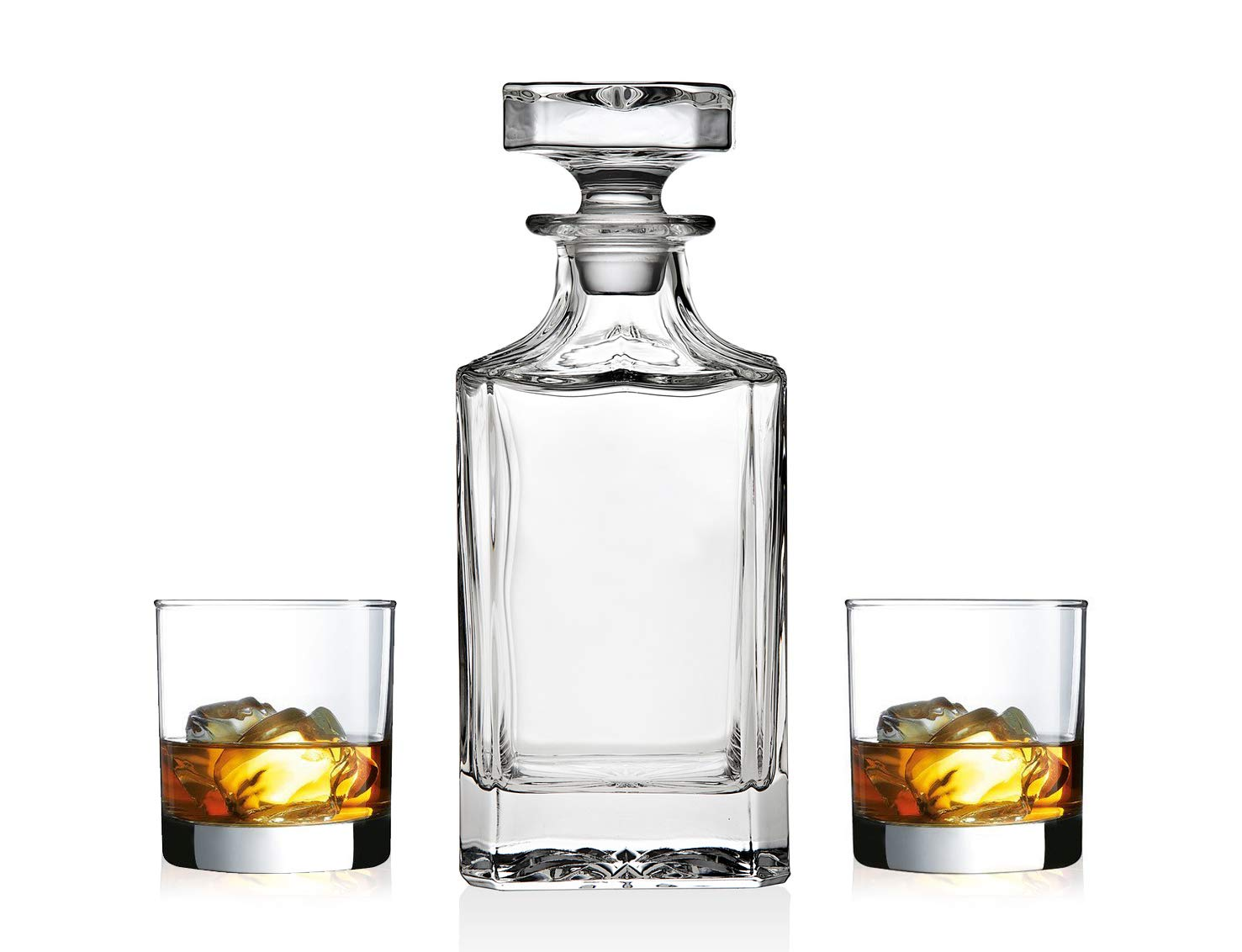 James Scott Whiskey Decanter set for Liquor Scotch Bourbon or Wine, This LEAD FREE Bar Set Includes a 750 ml Decanter with 2 DOF Whisky Glasses-Perfect Men's Gift, Boyfriend Gift, Father's Day Gift.