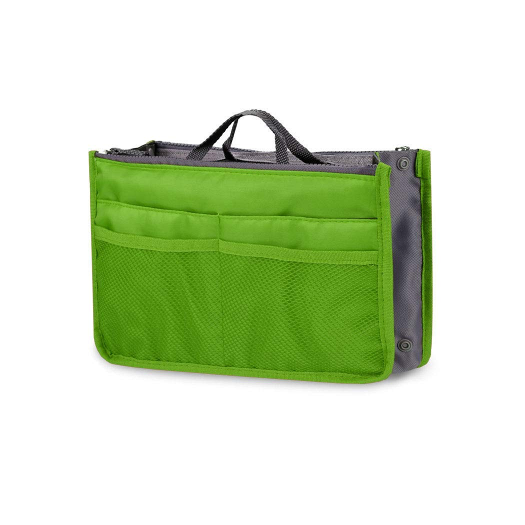 Fashion Women Multifunction Travel Cosmetic Makeup Insert Pouch Toiletry Organizer Handbag Storage Pur Closet Systems (Green)
