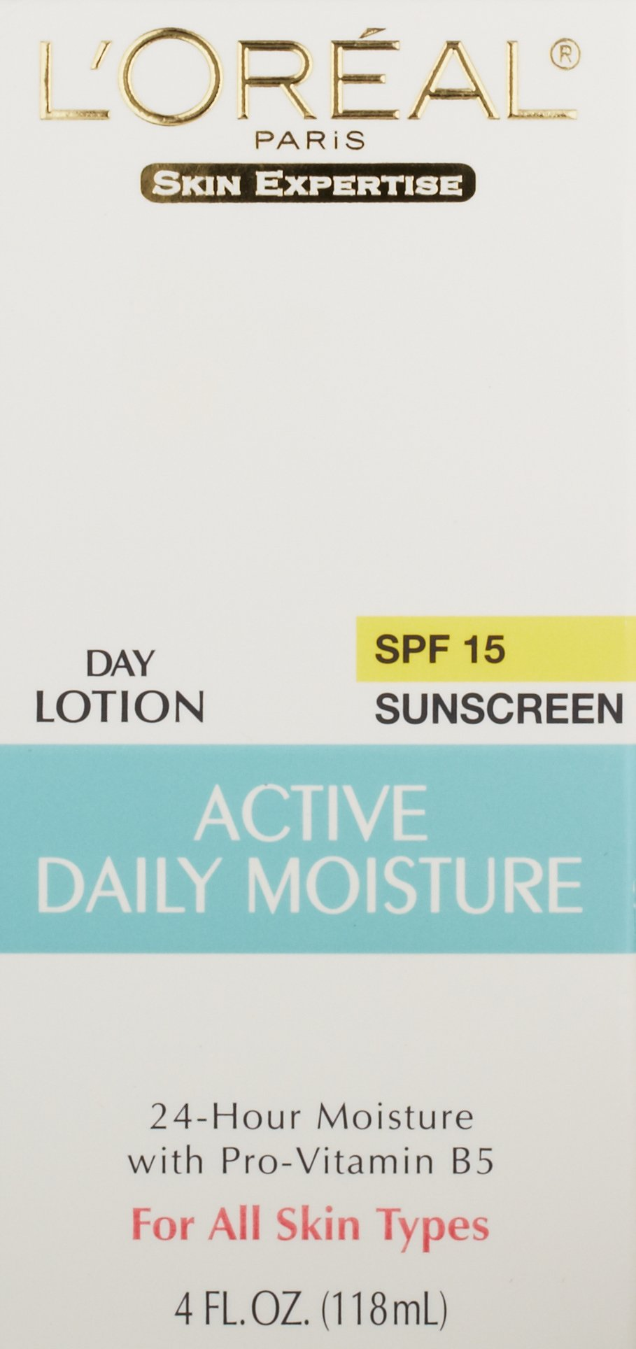 L'Oreal Paris Skincare Active Daily Moisture Face Lotion with SPF 15, Face Moisturizer with Pro-Vitamin B5, For All Skin Types, 4.0 oz