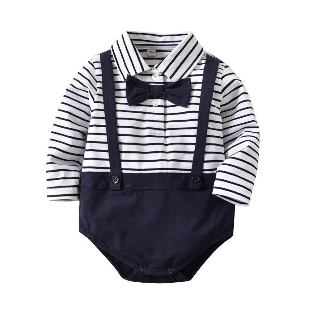 SeClovers Gentleman Bowtie Romper-Toddler Stripe Jumpsuit,Pajamas Long Sleeve BY303