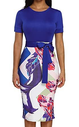 536420e7406 Summer Floral Pencil Dress for Women Patchwork Classic Work Business Pencil  Midi Dress Blue S