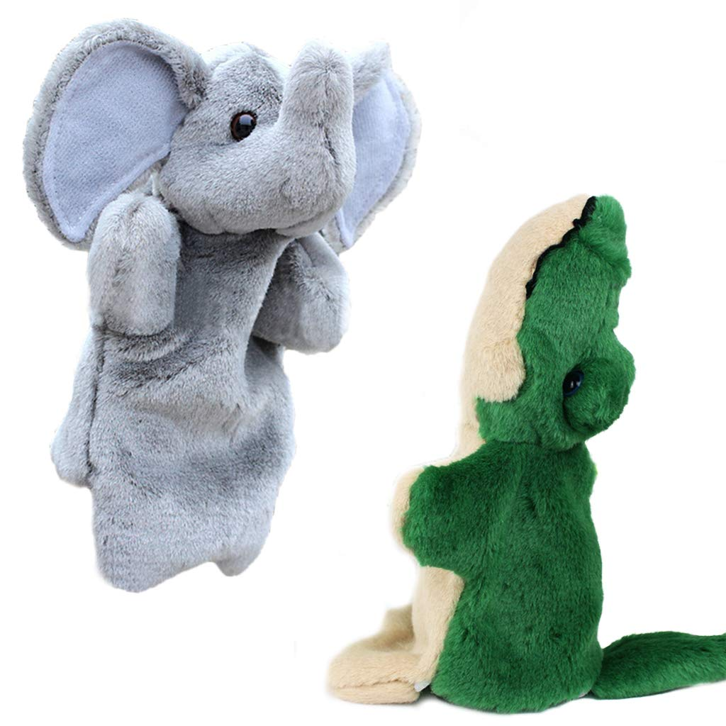 RIY Plush Forest Animals Toys Elephant Crocodile Hand Puppets for Kids Interactive Baby Toy