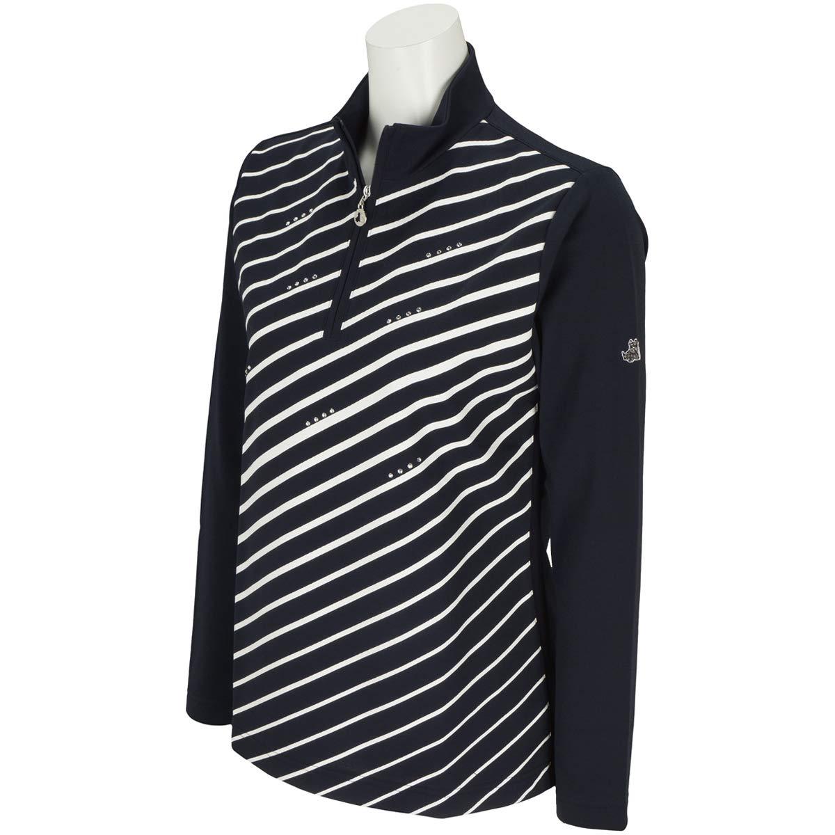 ブラック&ホワイト Black & White 長袖シャツポロシャツ 長袖ハイネックシャツ レディス M ネイビー B07RLPMKBV