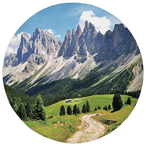 Round Rug Mat Carpet,Farmhouse Decor,Winding Path into Pine Tree Forest Meadows and Mountain Scenery Print,Green White Blue,Flannel Microfiber Non-slip Soft Absorbent,for Kitchen Floor Bathroom ()