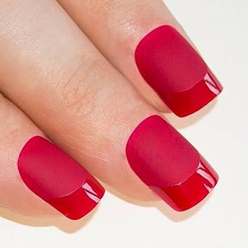 uas postizas manicura francesa puntas medianas rojo mate cobertura total de bling art ru
