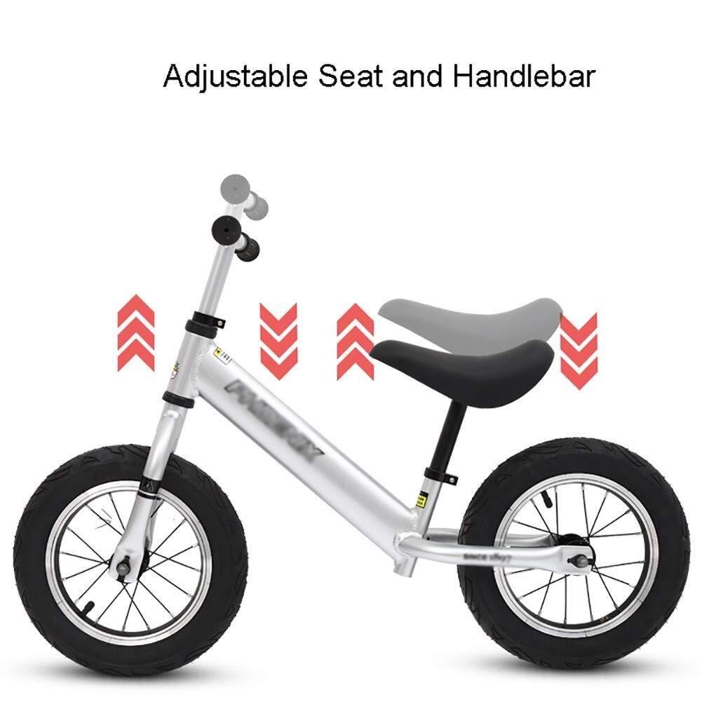 バランスバイク、プッシュバイク、2歳から6歳まで - 幼児のトレーニング用自転車、ペダルなしのウォーキングバランスバイク、調整可能なハンドルバーとシートを備えた軽量の子供用バイク、誕生日プレゼント ZHAOFENGMING (Color : Silver, Size : As shown) B07TJVN572 Silver As shown