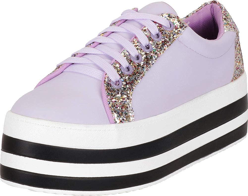 Purple Pu Cambridge Select Women's 90s Low Top Lace-Up Glitter Striped Platform Flatform Fashion Sneaker