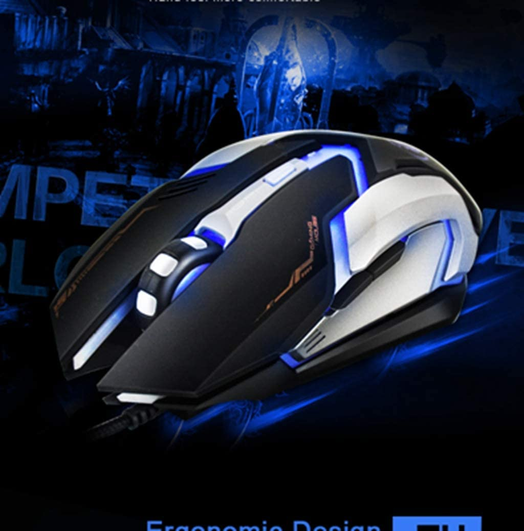 BINGFEI Wired Gaming Mouse USB Optical Mouse 6 Buttons PC Computer Mouse Gamer Mice 4800dpi for Dota 2 LOL Game V6,Black