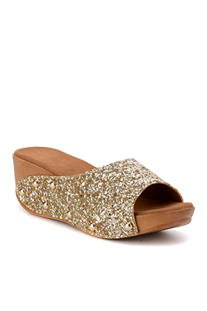 301408385b Bruno Manetti Women's Gold (3064) Faux Leather Wedges: Buy Online at ...