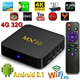 TV Box,MX10 TV Box Android 8.1 Smart TV Box Rockchip RK3328 Quad-core 4GB DDR3 RAM 32 ROM EMMC Support H.265 UHD 4K 2.4G WiFi Set-top Box