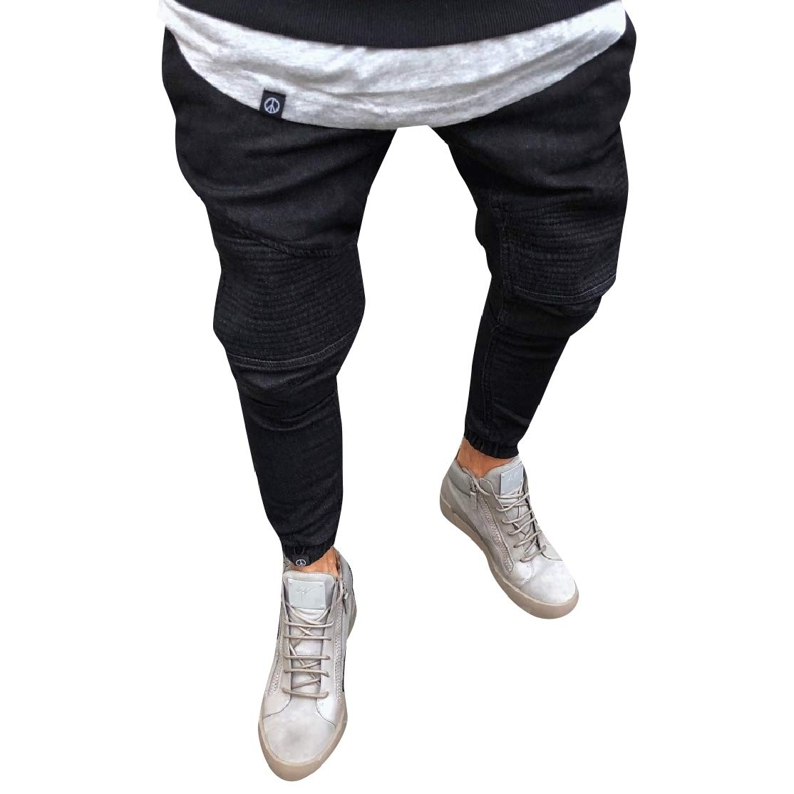 Comaba Men Elastic Bottom Washed Frill Plus Size Jean Shorts Pants
