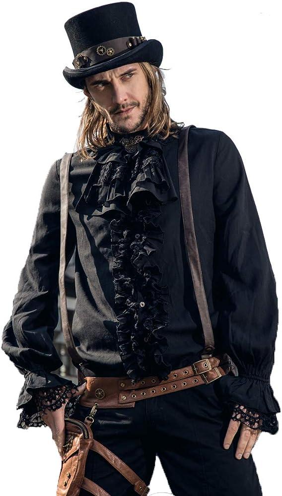 DEVIL SHACKLES Steampunk victoriano retro para hombre negro camisa gótico para hombre largo manga ocio camisas superior (S): Amazon.es: Ropa y accesorios