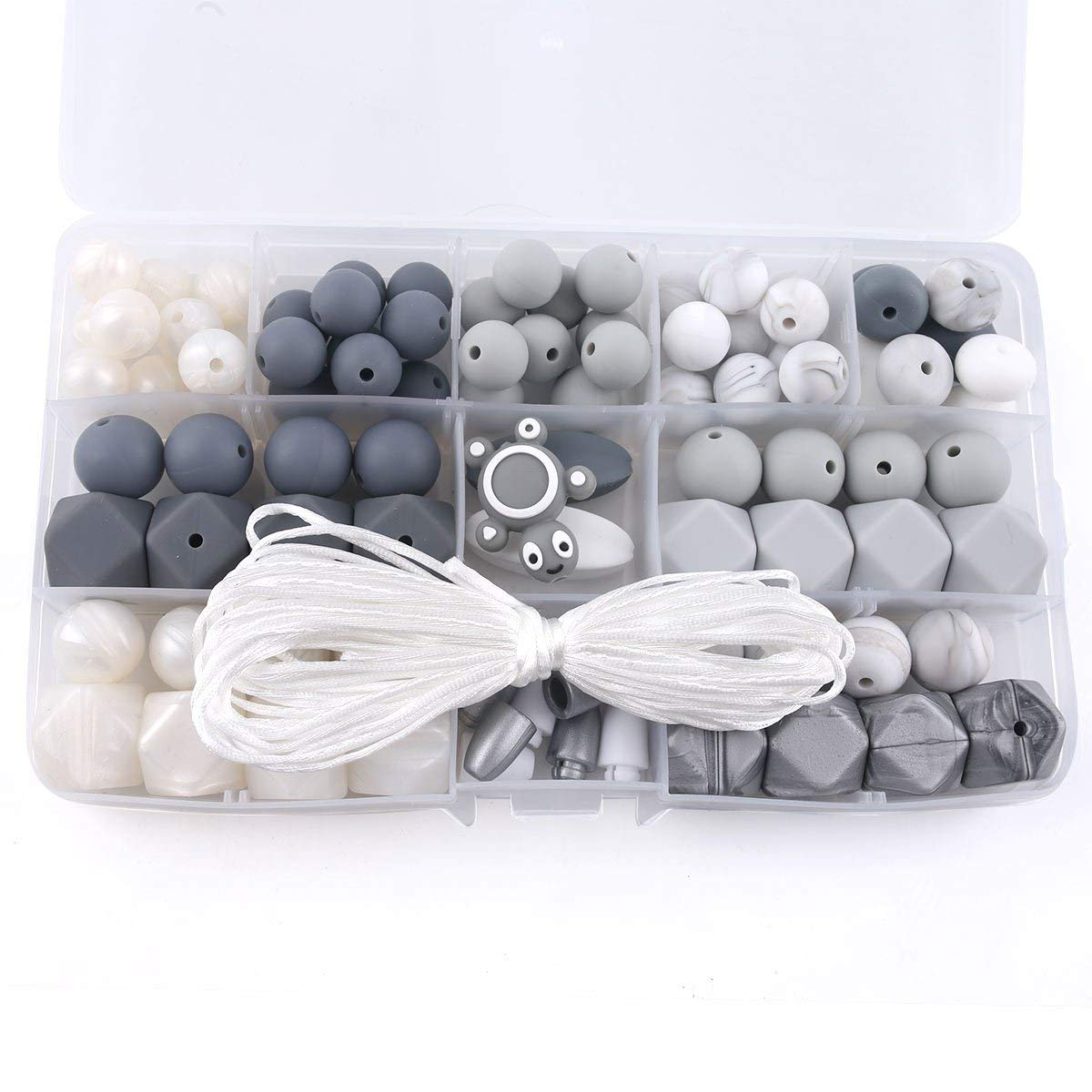 Baby Silicone Beads BPA Free Food Grade Pacifier Clip Beads Grey and White Series DIY Jewelry Chewable Nursing Necklace Accessories