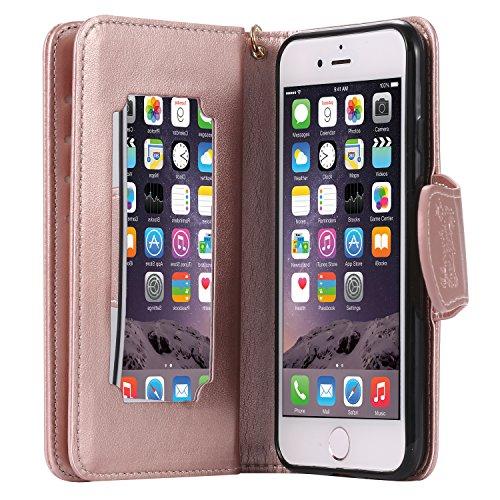 Meet de Rose d'or (Papillon - Filles) gaufrage pour Apple iphone 7 Cas de téléphone, Apple iphone 7 Case, Apple iphone 7 Étui à rabat Coque, Apple iphone 7 Housse en cuir, Apple iphone 7 Etui portefeu