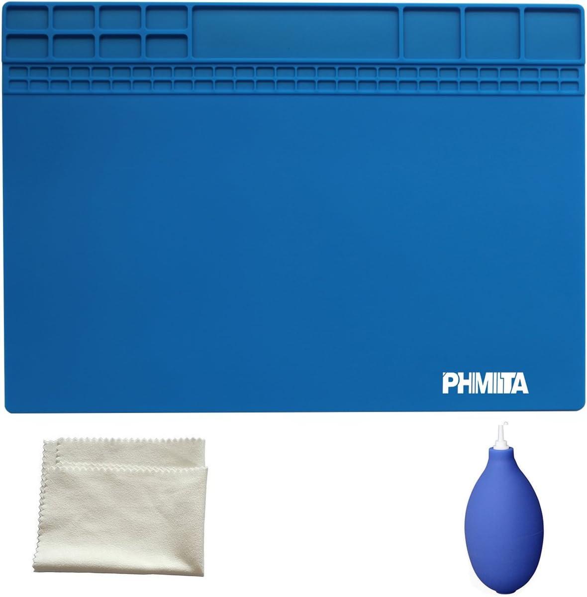 PHIMIITA Soldadura de Mat Silicone Estera de Soldadura Magnetic Project Working Pad 35x25, Dark Blue