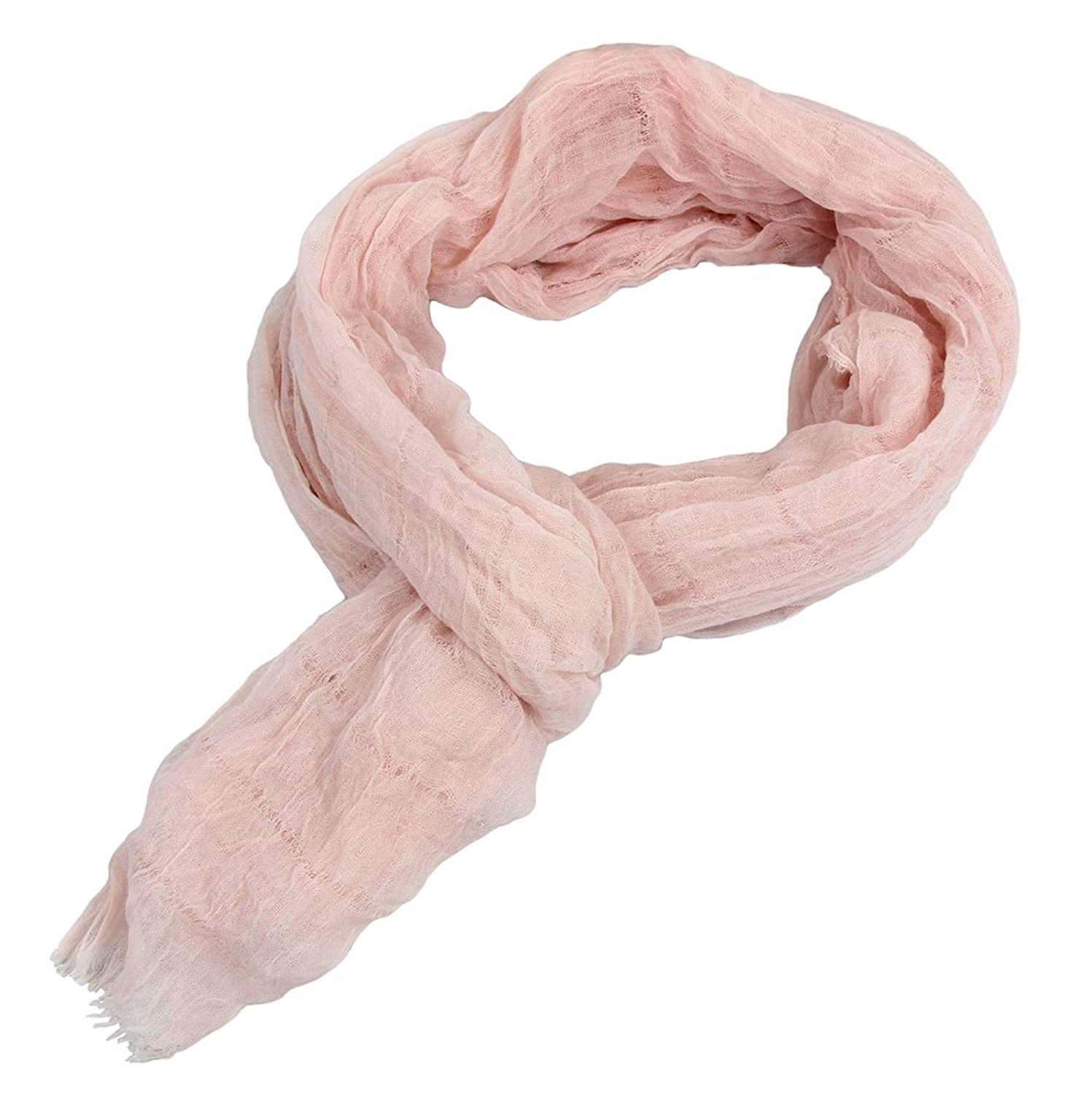 Solid Color Opaque Soft Lightweight Viscose Scarf with Raw Frayed Edges (Pink)