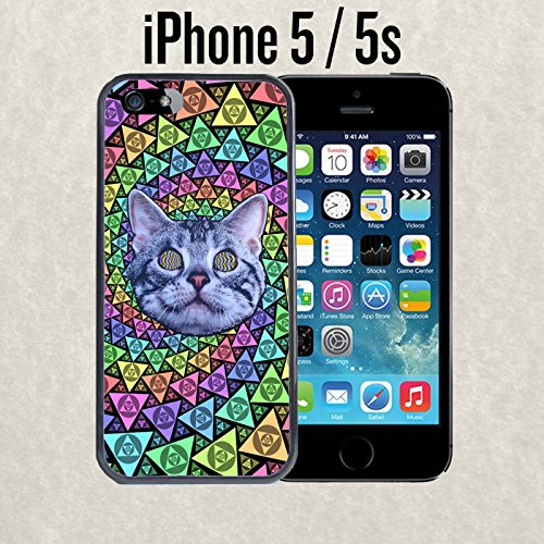 iPhone Case Psychedelic Cat Trip LSD College Frat Life for iPhone 5 / 5s Plastic Black (Ships from CA)