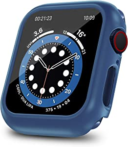 ONMROAD Protective Case Compatible with Apple Watch Series 6/SE Series 5/4 44mm with Tempered Glass Screen Protector Replacement for iWatch Cover 44mm - Navy Blue