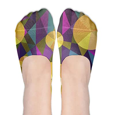 Abstract Multicolored Background DIY Printed Pattern Soft Low Cut Socks No-show Liner Invisible Polyester Cotton Sock For Women (One Pair)