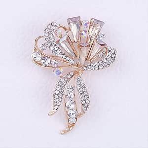 CBCJU Broche con Forma de Hoja de Flores Broche de Cristal