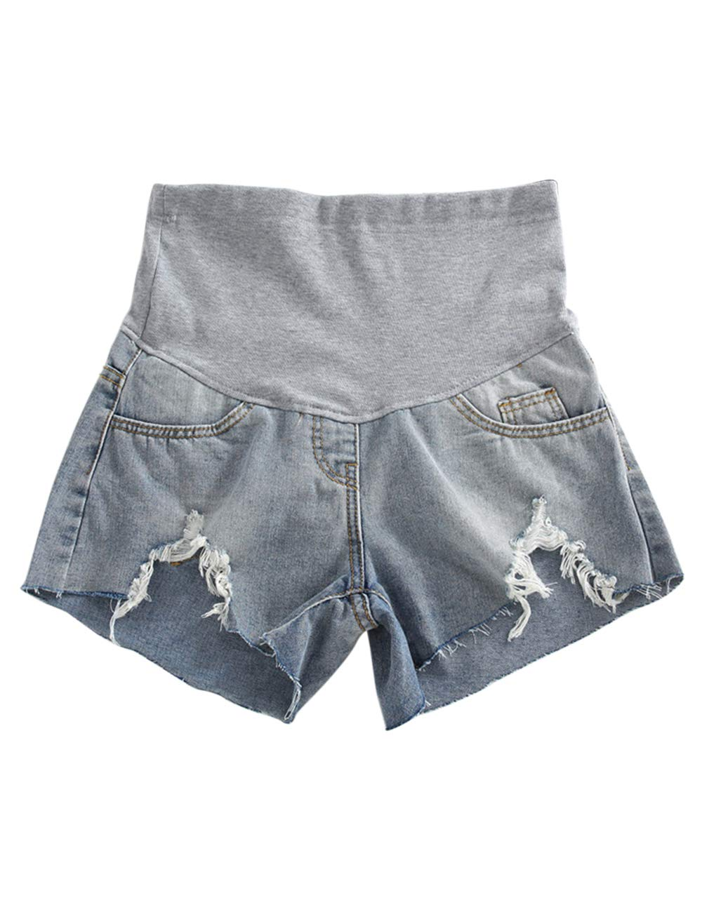 Zhhlinyuan Maternity Shorts Care Belly - Casual Breathable Relaxed Fit Jean Short