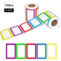 Name Tag Label 500PCS 3.5 x 2.25 Inch Name Tag Stickers Colorful Classification Label Sticker for School Office and Home…