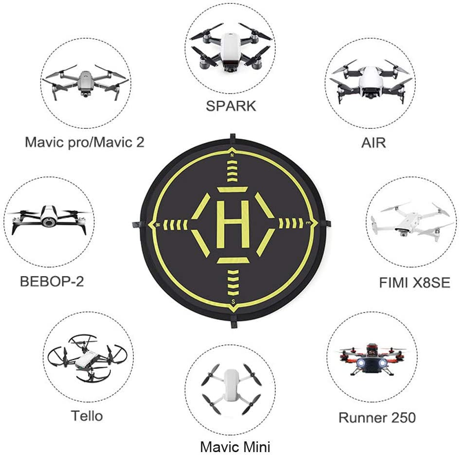 TwoCC Accessoires Drone,80cm Landing Pad Drone Tapis D/'atterrissage Pliable et /étanche RC H/élicopt/ère Piste Pliable datterrissage pour DJI Mavic Mini
