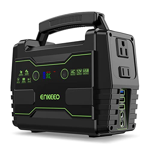 ENKEEO Power Station 155 Wh Portable Charger Lithium Backup Battery Pack 110V 100W Solar Generator Solar Panel Optional AC Outlet USB DC Supply for Outdoors Camping Travel Fishing Hunting Emergency