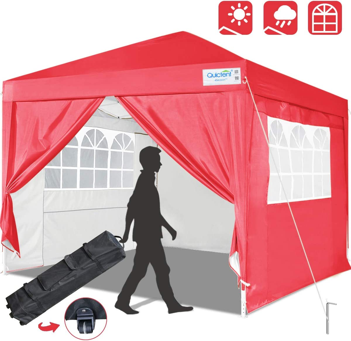 Quictent Silvox 10×10 EZ Pop Up Canopy Tent Instant Canopy Party Tent 8.7 ft Height