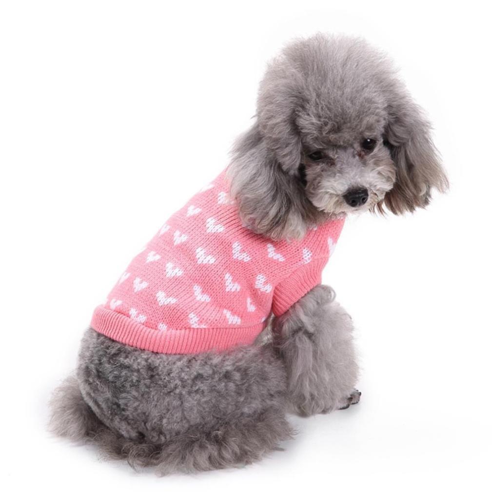mascotas perros ropa de invierno accesorios Sannysis mascotas ropa navidad gato perro pequeños cachorro suéter punto ropa chaleco chaqueta vestir traje de chihuahua barato Impresión de corazón