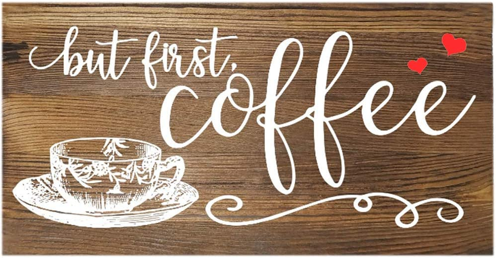 Rustic Style Imitation Wood Grain Coffee Tin Metal Wall Art Car License Signs, Original Design Thick Tinplate Wall Decoration Poster for Kitchen/Cafe/Coffee Corner…