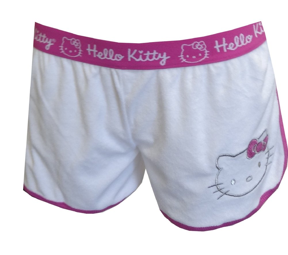 Hello Kitty Sweet and Simple White Baby Terry Sleep Shorts for women (Medium)