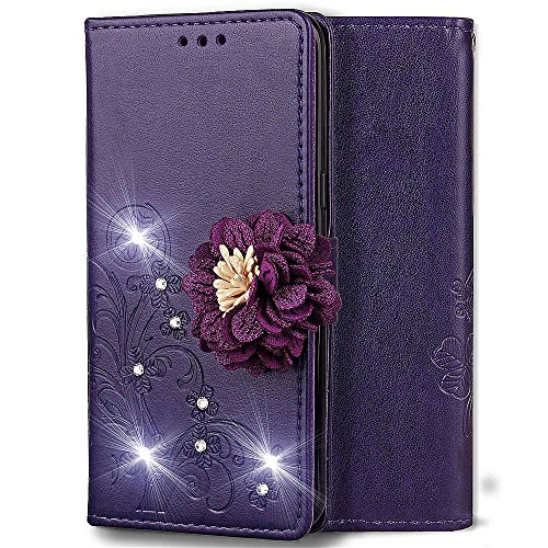 Wallet Case for iPhone 7 Plus,Shinyzone Embossed PU Leather Flip Cover Handmade Bling Sparkly Diamond with 3D Flower Magnetic Closure Elegant Cover for iPhone 8 Plus,Purple by ShinyZone