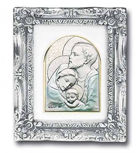 Antique Silver Leaf Resin Frame with Sterling Silver Holy Family Bust Image Silver Leaf Chips