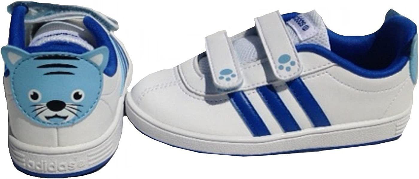 Adidas NEO Court Animal INF Chaussures Mode Sneakers Bebe Blanc Bleu AdiFit