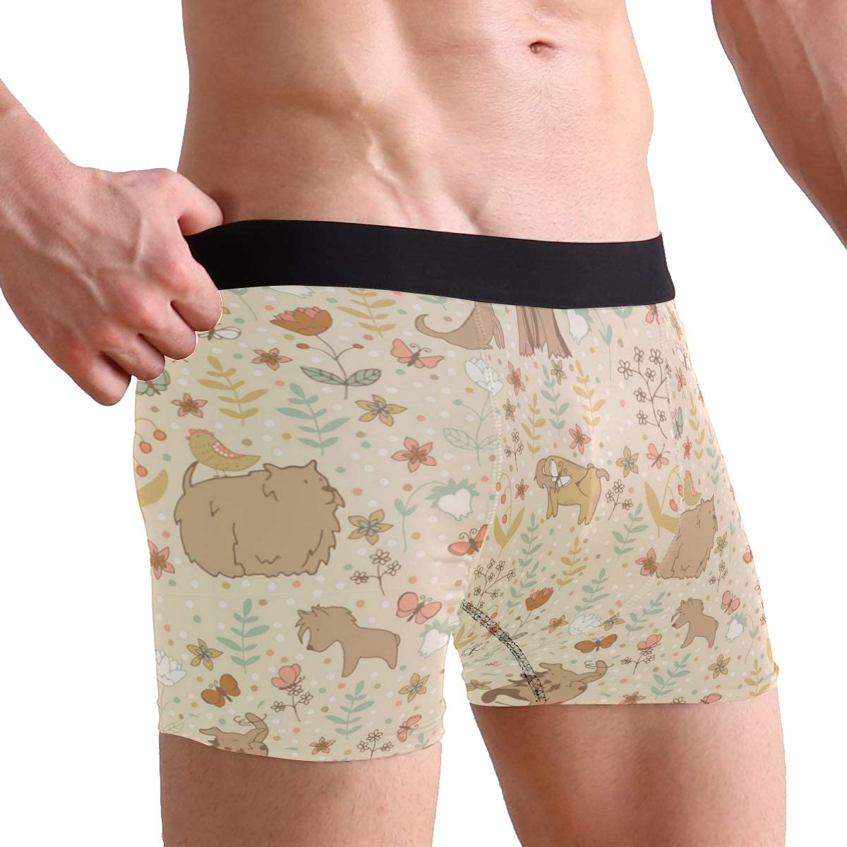 Lurred Brown Dog Mens Underwear Mens Bag Soft Cotton Underwear 2 Pack