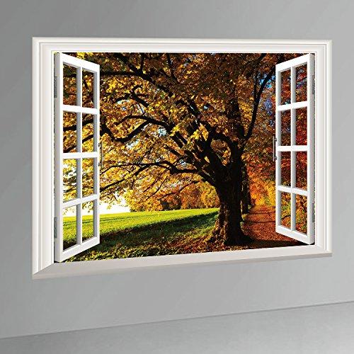 Ducklingup 3D Window View Autumn Fall Big Golden Maple Tree Mural Art Poster Sticker Home Wall Decal (H)