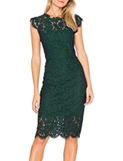 0d820215b2b MEROKEETY Women's Sleeveless Lace Floral Elegant Cocktail Dress Crew Neck  Knee Length for Party