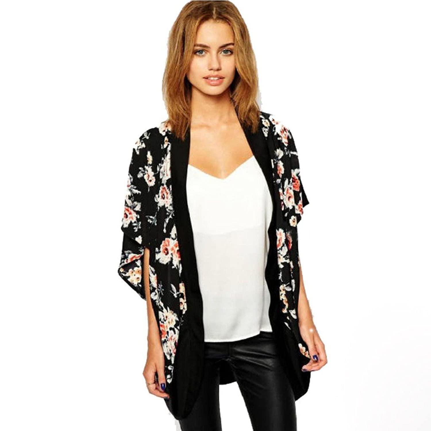Anboo Women Floral Printed Splice Chiffon Shawl Kimono Cardigan Tops Cover up at Amazon Womens Clothing store: