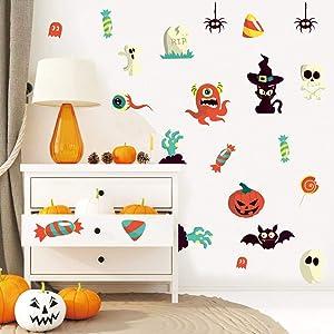 IARTTOP Halloween Party Supplies DIY Wall Decal, Bat Spider Cat Window Cling Sticker, Spooky Pumpkins Skull Decals for Kids Room Living Room Wall Art Decor (31 pcs)