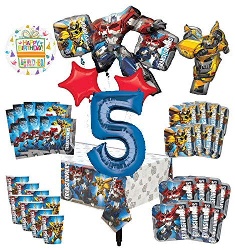 (Transformers 5th Birthday Party Supplies 8 Guest Decoration Kit and Balloon Bouquet)