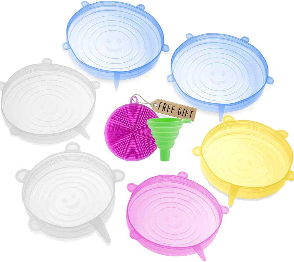 """DARUNAXY Silicone Stretch Lids, 6 pcs Assorted Color Same Sizes and Shape of Containers,Reusable, Durable and Expandable Food Covers, Keeping Food Fresh, Dishwasher and Freeze (Diameter 6.5"""")"""
